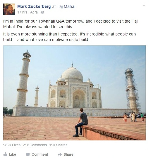 Zuckerberg at Taj Mahal