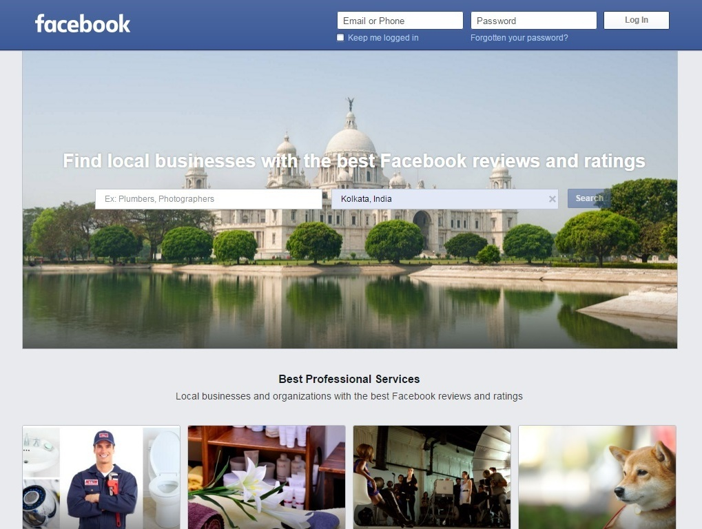 Facebook Services Homepage